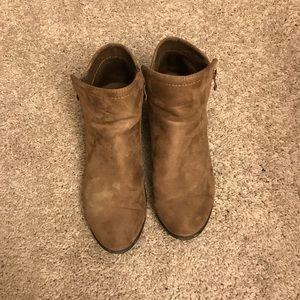 Brown block heel bootie